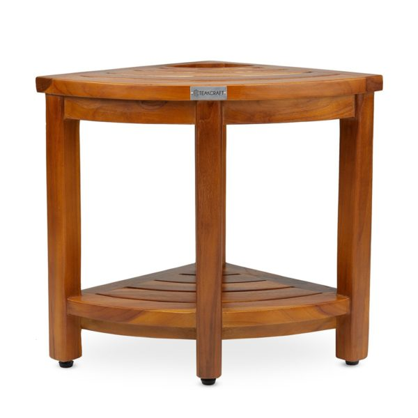 Contemporary The LOKI, Teak Corner Bench With Basket for Sale - TeakCraftUS