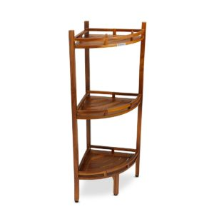 solid teak 3 tier corner shelf for organization - TeakCraftUs