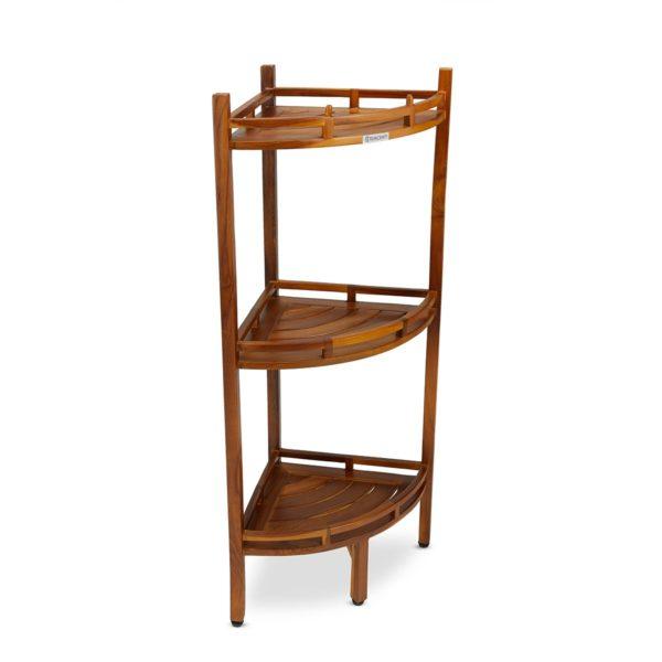 solid teak 3 tier corner shelf for organization - TeakCraftUs