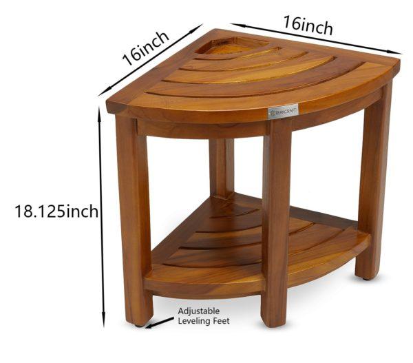 Modern The LOKI, Teak Corner Bench With Basket - TeakCraftUS