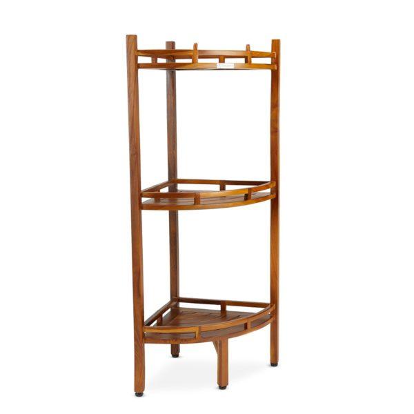 Best Quality The OM, Teak 3 Tier Corner Shelf Online - TeakCraftUS