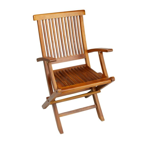 Outdoor Teak Folding Arm Chair for Sale - TeakCraftUS