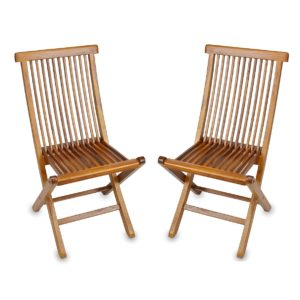Teak wood folding chair for garden and lobby - TeakCraftUS