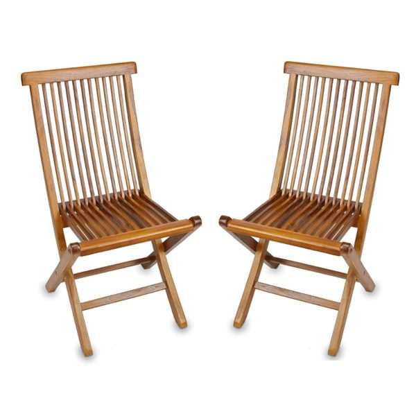 Teak wood folding chair for garden and lobby - TeakCraftUS