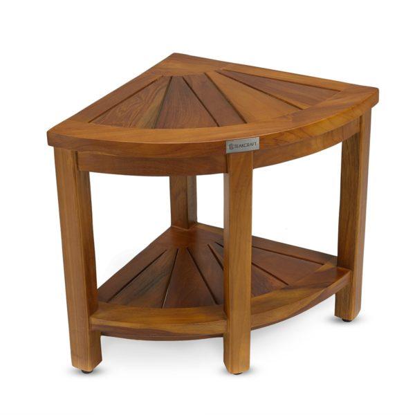 beautiful teak corner bench for a small bedroom - TeakCraftUS