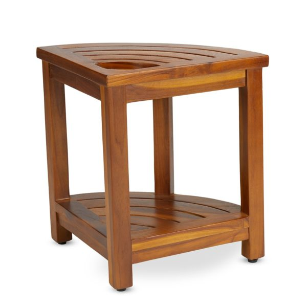 Indonesian The LOKI, Teak Corner Bench With Basket for Sale Online - TeakCraftUS