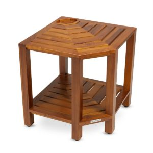 teak corner shower bench for storage - TeakCraftUS