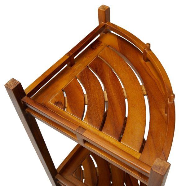 Handcrafted The OM, Teak 3 Tier Corner Shelf for Sale - TeakCraftUS