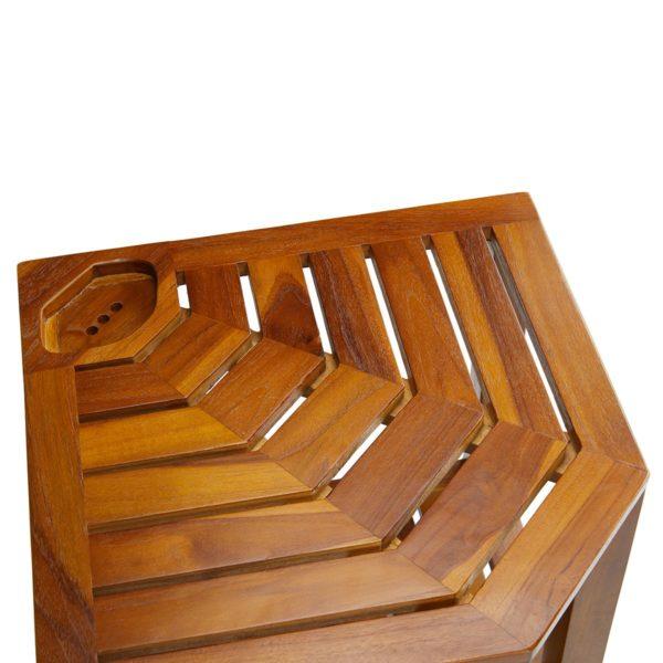 Handcrafted The RA, Teak Corner Shower Bench Online - TeakCraftUS