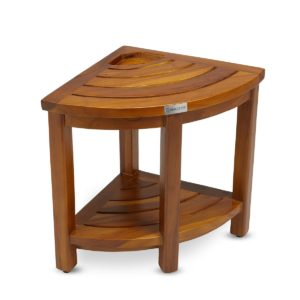 Premier Quality The LOKI, Teak Corner Bench With Basket - TeakCraftUS