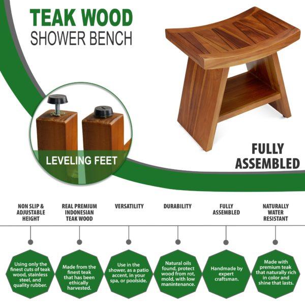Order Teak Wood Shower Bench Online - TeakCraftUS