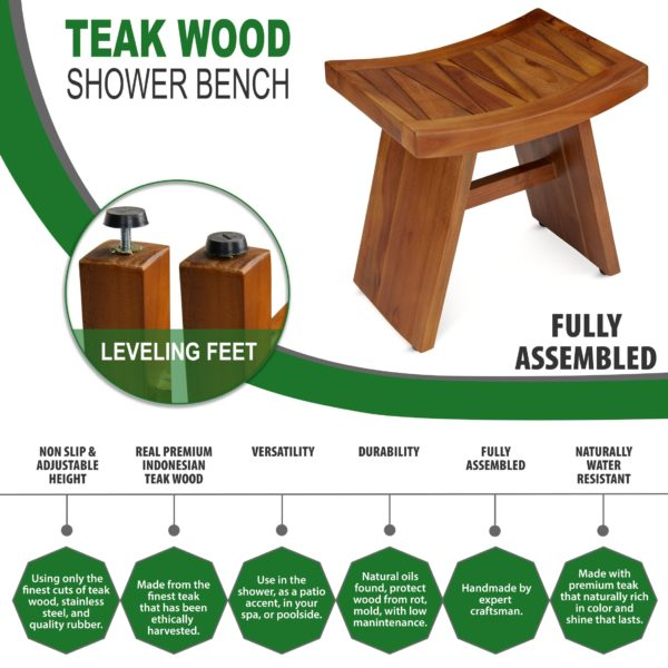 Handcrafted Teak Wood Shower Bench for Sale - TeakCraftUS