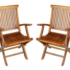 Teak Folding Arm Chair for Outdoor Patio Garden - TeakCraftUS