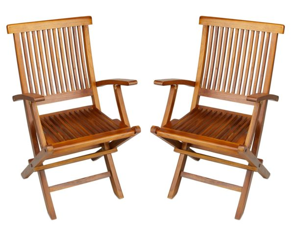 Teak Folding Arm Chair for Outdoor Patio Garden - TeakCraftUS