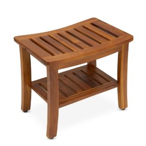 Contemporary Teak Shower Bench 21 Inch for Home or Spa