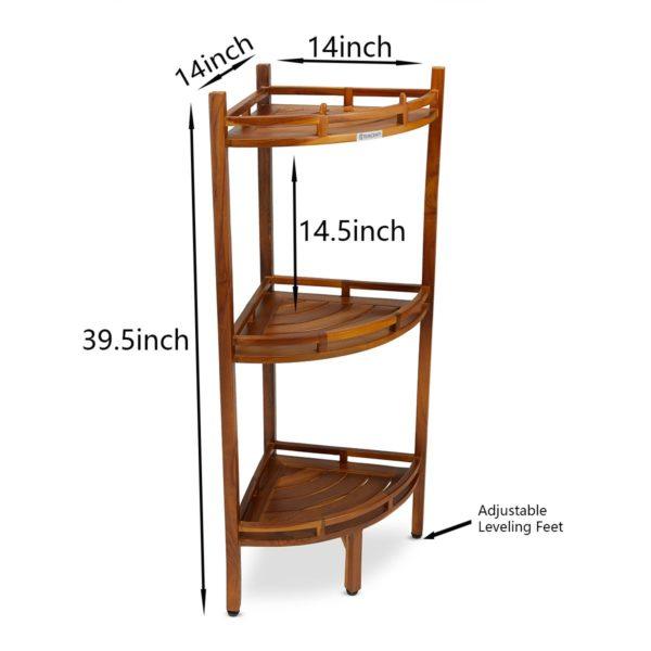 Moder The OM, Teak 3 Tier Corner Shelf Online - TeakCraftUS