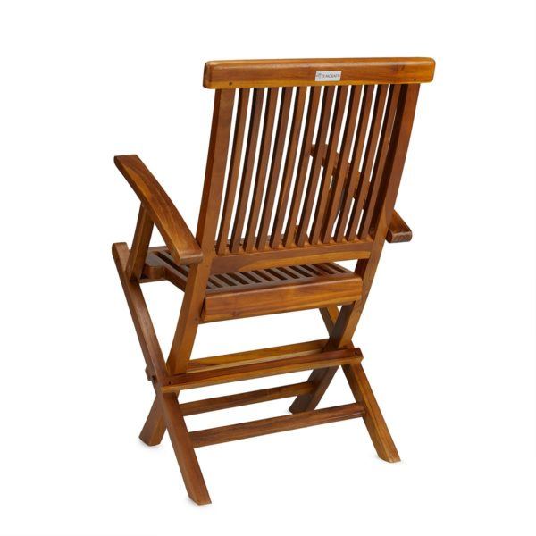 Buy Contemporary Teak Folding Arm Chair Online - TeakCraftUS