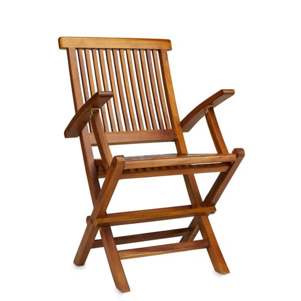 Teak Folding Arm Chair for Indoor and Outdoor Use - TeakCraftUS